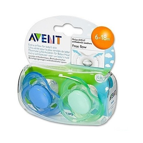 Avent Philips smoczek Freeflow 6-18m 2 szt. niebieski-zielony